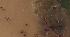 Aerial cambodia children Stock Footage