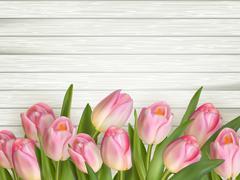 Tulip on the wooden background. EPS 10 - stock illustration