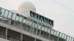 "A sign with the name on board the cruise liner ""ARTANIA"" Stock Footage"