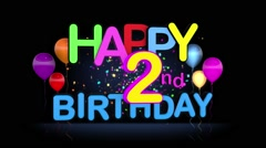 Happy 2nd Birthday Title seamless looping Animation - stock footage