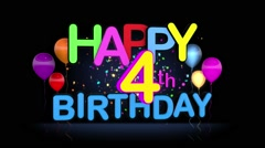 Happy 4th Birthday Title seamless looping Animation Stock Footage