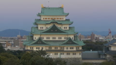 Zoom shot from Nagoya Castle is twilight skies. Stock Footage