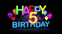 Happy 5th Birthday Title seamless looping Animation Stock Footage
