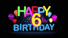 Happy 6th Birthday Title seamless looping Animation - stock footage