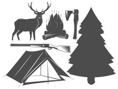 set of camping elements, wildlife, outdoors - stock illustration