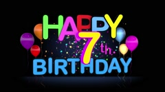Happy 7th Birthday Title seamless looping Animation Stock Footage