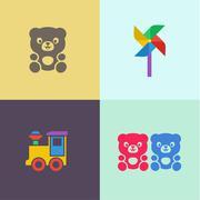 Children toy teddy bear and locomotive turntable flat icons illustrations logo Stock Illustration