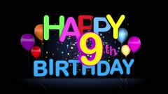 Happy 9th Birthday Title seamless looping Animation - stock footage