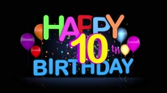 Happy 10th Birthday Title seamless looping Animation Stock Footage