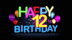 Happy 12th Birthday Title seamless looping Animation Stock Footage