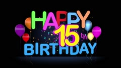 Happy 15th Birthday Title seamless looping Animation Stock Footage