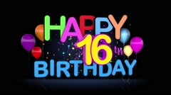 Happy 16th Birthday Title seamless looping Animation Stock Footage