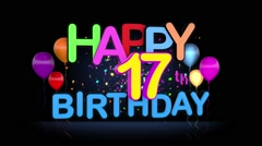 Happy 17th Birthday Title seamless looping Animation Stock Footage