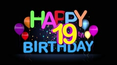 Happy 19th Birthday Title seamless looping Animation Stock Footage
