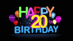 Happy 20th Birthday Title seamless looping Animation - stock footage