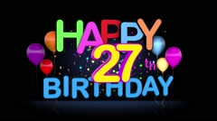 Happy 27th Birthday Title seamless looping Animation Stock Footage