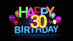 Happy 30th Birthday Title seamless looping Animation Stock Footage