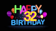 Happy 32nd Birthday Title seamless looping Animation Stock Footage