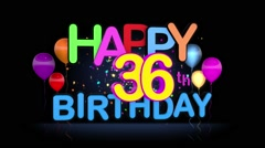 Happy 36th Birthday Title seamless looping Animation Stock Footage
