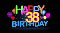 Happy 38th Birthday Title seamless looping Animation Stock Footage