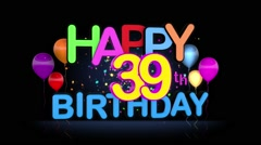Happy 39th Birthday Title seamless looping Animation Stock Footage