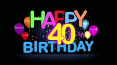 Happy 40th Birthday Title seamless looping Animation Stock Footage
