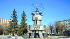 Minerals monument in Ust-Kamenogorsk Stock Footage