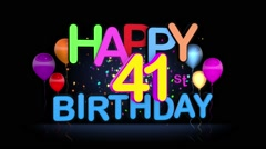 Happy 41st Birthday Title seamless looping Animation Stock Footage