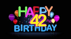 Happy 42nd Birthday Title seamless looping Animation Stock Footage