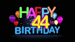 Happy 44th Birthday Title seamless looping Animation Stock Footage