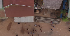 Aerial cambodia children playing ball Stock Footage