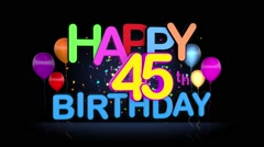 Happy 45th Birthday Title seamless looping Animation Stock Footage