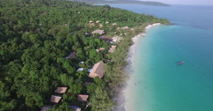 Aerial tropical island wide up Stock Footage