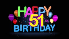 Happy 51st Birthday Title seamless looping Animation Stock Footage