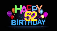 Happy 52nd Birthday Title seamless looping Animation Stock Footage