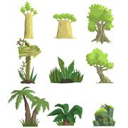 Tropical Forest Landscape Elements - stock illustration