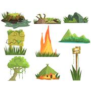 Jungle Landscape Elements - stock illustration