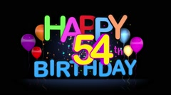 Happy 54th Birthday Title seamless looping Animation Stock Footage