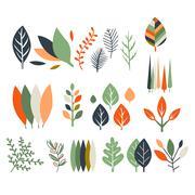 Leaves Collection Modern Design - stock illustration