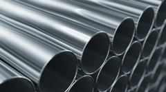 Looped 3d animation of Metallic Pipes. Camera moving near rows of tubes. - stock footage