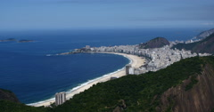 View of Copacabana Beach, Rio de Janeiro, Brazil. Building at the waterfront. Stock Footage