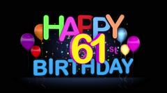 Happy 61st Birthday Title seamless looping Animation - stock footage
