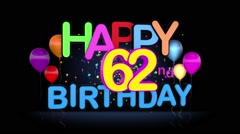 Happy 62nd Birthday Title seamless looping Animation Stock Footage