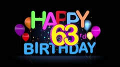 Happy 63rd Birthday Title seamless looping Animation Stock Footage