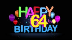 Happy 64th Birthday Title seamless looping Animation Stock Footage