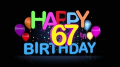 Happy 67th Birthday Title seamless looping Animation Stock Footage