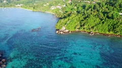 Aerial view of Anse Royale in Mahe Island, Seychelles. Stock Footage