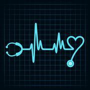 Stethoscope make a heartbeat stock vector Stock Illustration