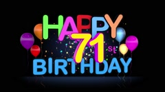 Happy 71st Birthday Title seamless looping Animation - stock footage