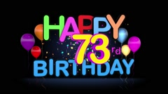 Happy 73rd Birthday Title seamless looping Animation Stock Footage